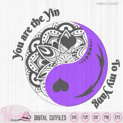 Yin Yang doodle, valentine cut file,