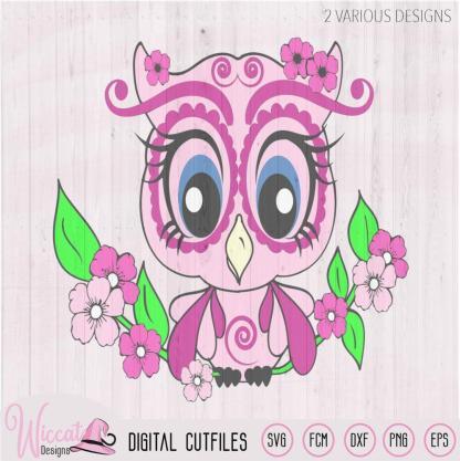 Spring Owl svg, girl owl, woodland