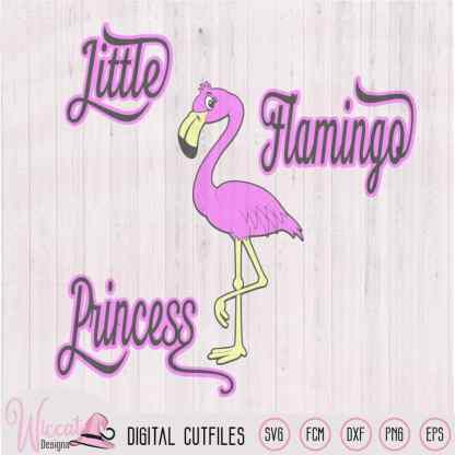 Flamingo princess, Baby Flamingo svg, dxf, fcm and png file