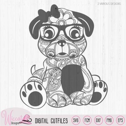 Paisley Hipster pug svg, girly pug
