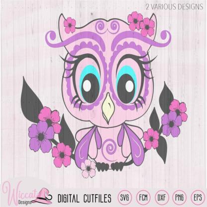 Spring Girl owl svg, Woodland animal svg, Pink blossom svg, svg cut file, Dxf vector, scanncut, cricut svg, vinyl cutfile, wall decor design