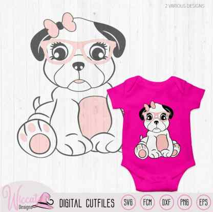 Hipster girly pug svg with glasses