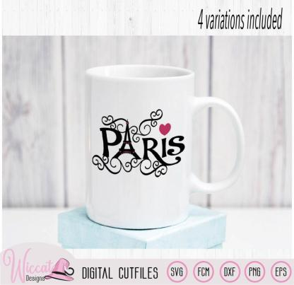 Paris Eiffel Tower word art, City of love svg,