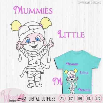 Mummie girl, Monsterly cute, Little monster svg, mummy svg, Halloween kids, t shirt design, scanncut fcm, vinyl craft, die cut, cricut svg,