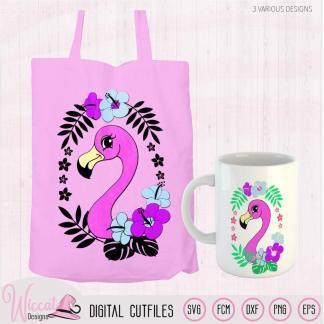 Flamingo met zomer bloemen svg, flamingo gezicht,