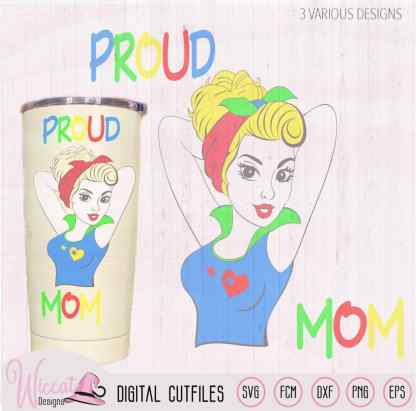 Proud mom autism pin up style, autism cut file