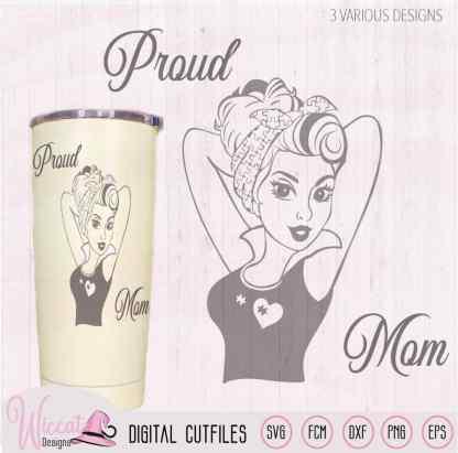 Proud mom line art tumbler design