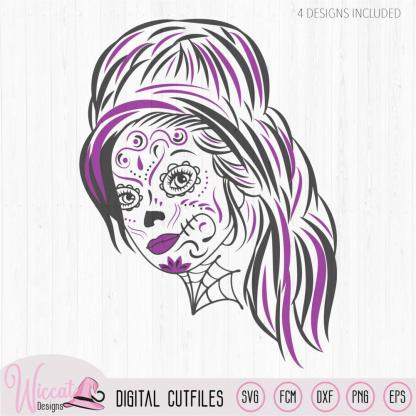 Woman Sugar Skull svg, Day of the dead, tattered lace, intricate svg files, teenager svg, cricut, line art svg, doodle cut file, goth file