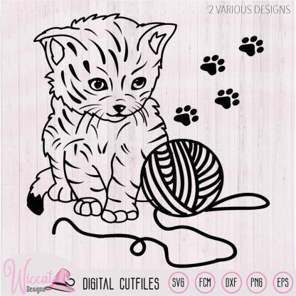 Cute Line art Kitten with wool svg,