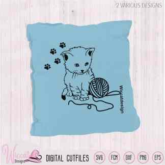 Cute Line art Kitten with wool svg,