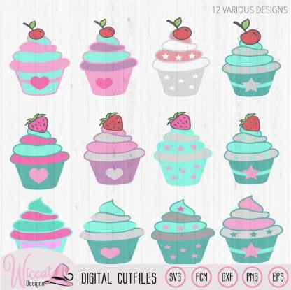 12 Cupcakes with strawberry and cherry