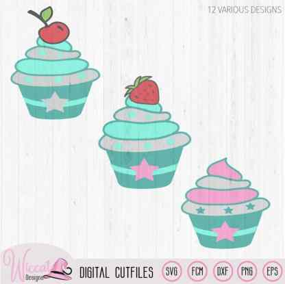 12 Cupcakes with strawberry and cherry, Little cupcake bundle, birthday cupcakes, cuttable svg, scanncut fcm, cricut svg design, vinyl craft