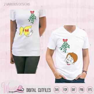 Cartoon couple Mistletoe kisses svg