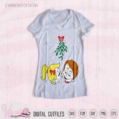 Cartoon couple Mistletoe kisses svg