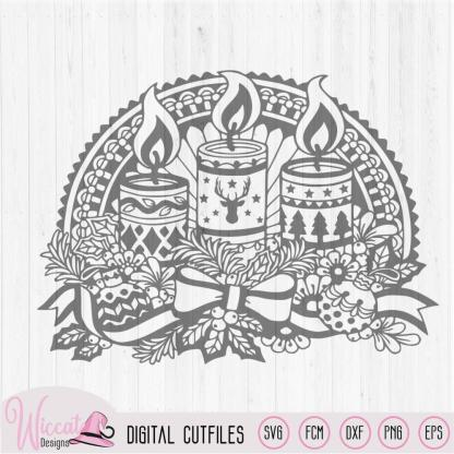 Doodle Christmas candle, Window Ornament