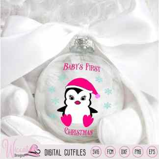 Christmas girl penguin svg, Baby girl cut file