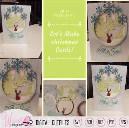 Snow globe Christmas card, Reindeer Woodland card,