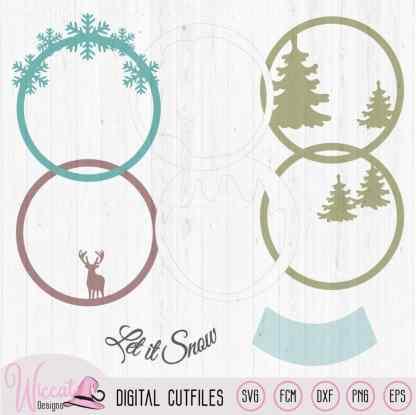 Snow globe Christmas card, Reindeer Woodland card,