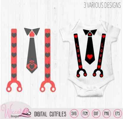 Valentine Baby neck tie and suspender, love tie bundle svg,