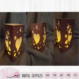 Valentine heart lantern template, floating hearts svg
