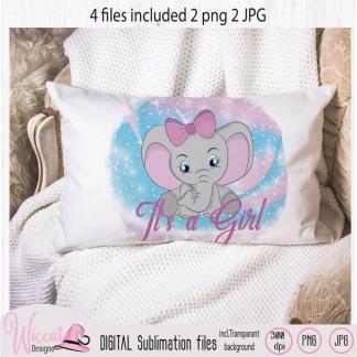 Baby girl elephant sublimation file, Big bow elephant png, Digital art download, Sublimation design, newborn jpg file, nursery clipart