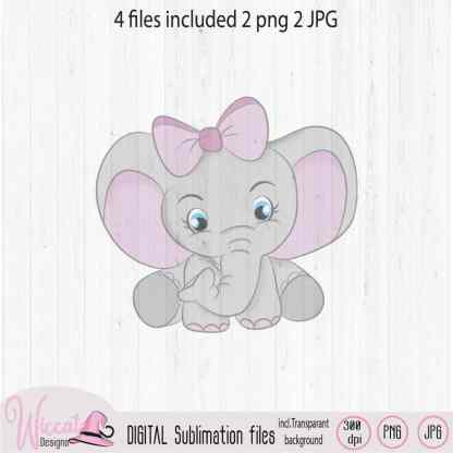 Pink Baby girl elephant sublimation file