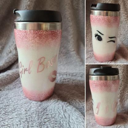 Girl boss pink glitter cup