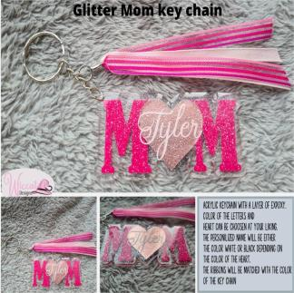 Personalized glitter MOM key chain,
