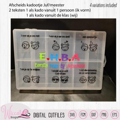 First aid for goodbye, E.H.B.A Juf of Meester afscheid snoep trommel
