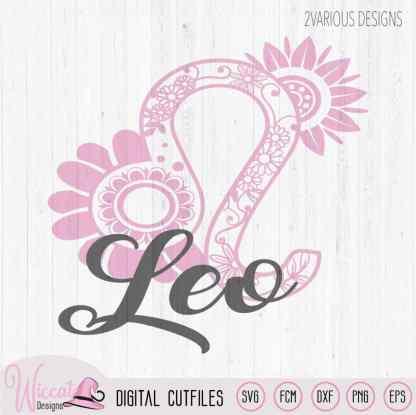 Flower Mandala Leo Zodiac svg