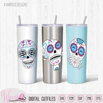 3 sugar skulls, hear see and speak no evil