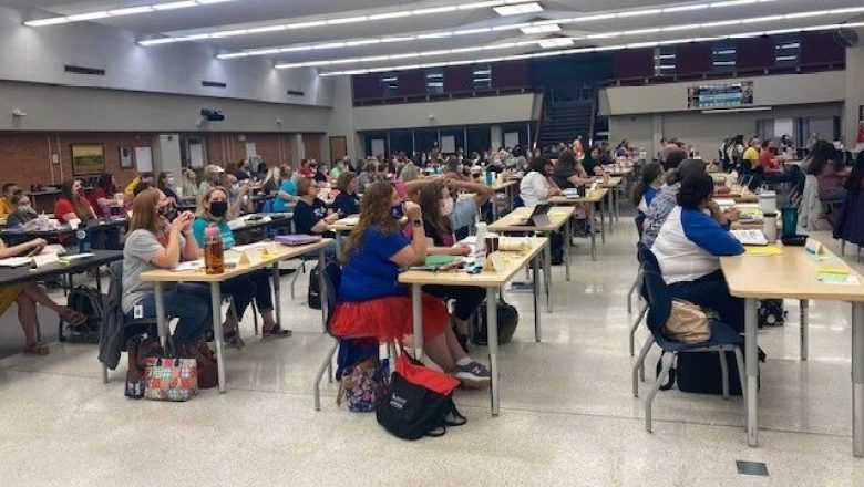 A group of Wichita Public Schools teachers participating in a full-day of literacy training in May.