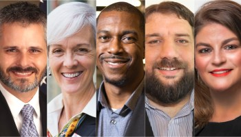 Wichita City Council candidates (from left) Jared Cerullo, Cindy Claycomb, Brandon Johnson, Mike Hoheisel and Maggie Ballard. (Photos provided courtesy of candidates)