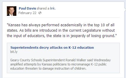 Paul Davis Facebook Post, February 22, 2013