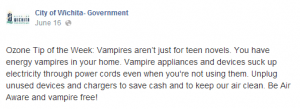 "Wichita city government Facebook page public service advice regarding ""vampire"" power waste."