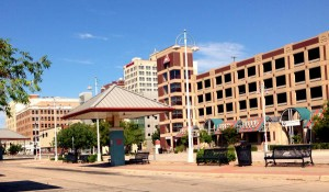 Wichita Transit Center, Sunday August 31, 2014. It may be difficult to detect that some lights are on, as it's a sunny day.