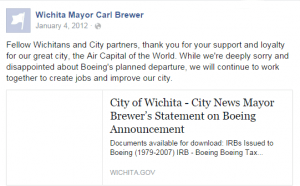 Wichita Mayor Carl Brewer Facebook 2012-01-04
