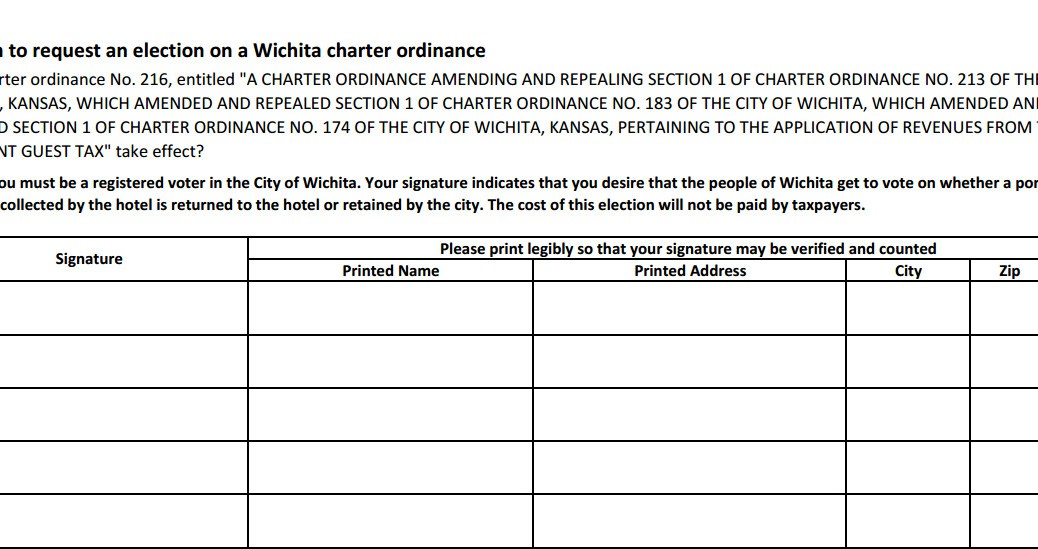 Wichita has examples of initiative and referendum for Petition template to print