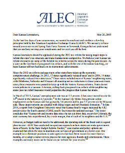 Letter from ALEC to Kansas lawmakers. Click to read.
