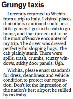 Letter in Wichita Eagle, excerpt