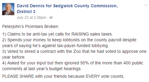David Dennis for Sedgwick County Commission, District 3 Facebook post