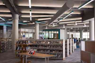 Shelves and shelves of materials at the new Advanced Learning Library in Wichita KS