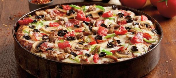 Deep dish pizza from BJs - half-off for Tax Day