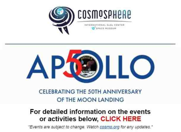 Kansas Cosmosphere events commemorating the 50th anniversary of the moon landing