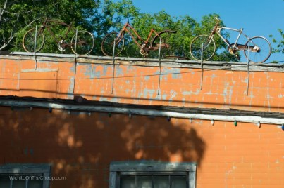 Bikes on a rooftop in Cottonwood Falls Kansas