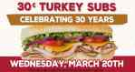 Goodcents turkey sub deal 30 cents for 30th anniversary