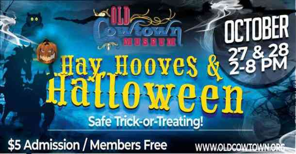 Hay, Hooves, and Halloween 2018 flyer for Cowtown Halloween family-friendly Event
