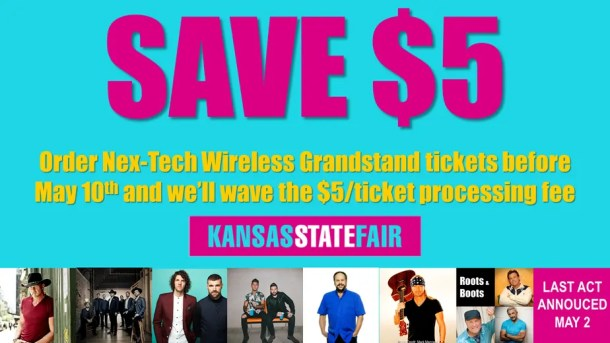 FREE processing fee on Kansas State Fair concert tickets before May 11