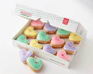 One dozen Krispy Kreme filled doughnuts that look like conversation hearts - Valentines Day