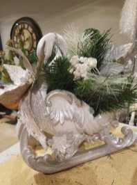 sparkly white sled centerpiece